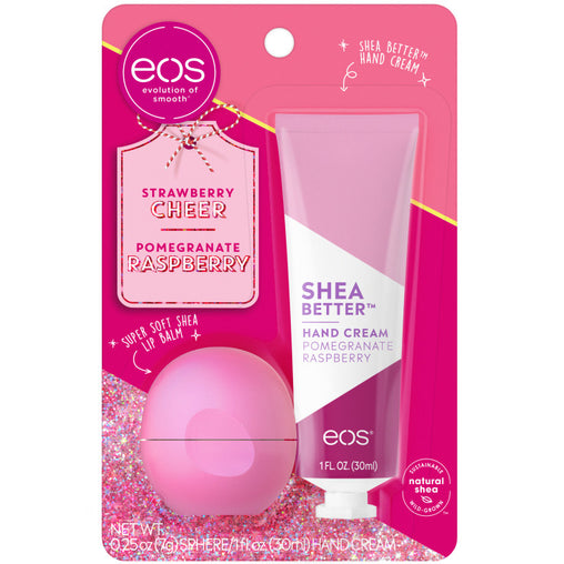 strawberry cheer and pomegranate raspberry lip balm and hand cream - eos - alt image 1