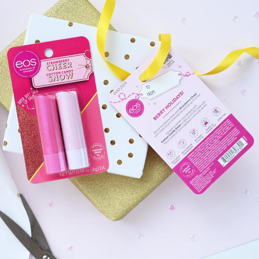 strawberry cheer and cotton candy snow 2-pack lip balm - eos - alt image 3