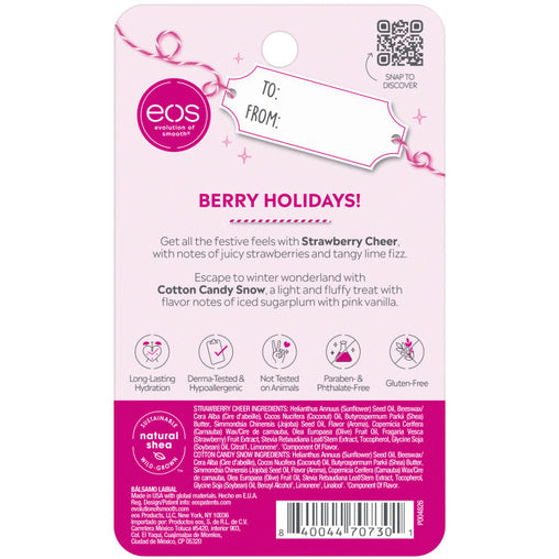 strawberry cheer and cotton candy snow 2-pack lip balm - eos - alt image 4
