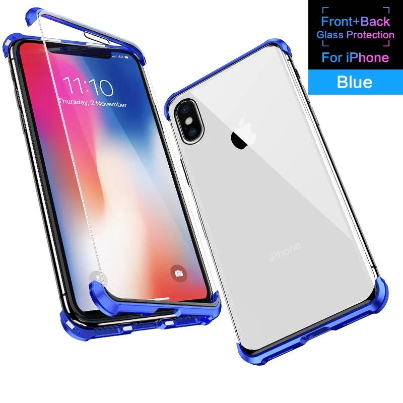 Samsung series frameless magnetic king double-sided glass case for Samsung S8/S8 Plus/S9/S9 Plus/S10/S10E/S10 Plus/Samsung Note8/Note9 metal side magnetic case