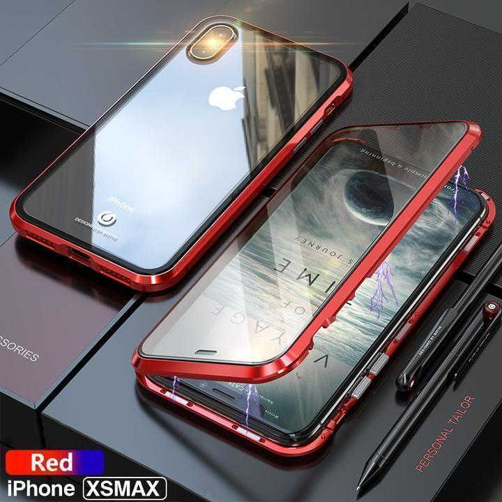 Luxury Metal Bumper Cover and Full Body Magnetic Glass Case For iPhone