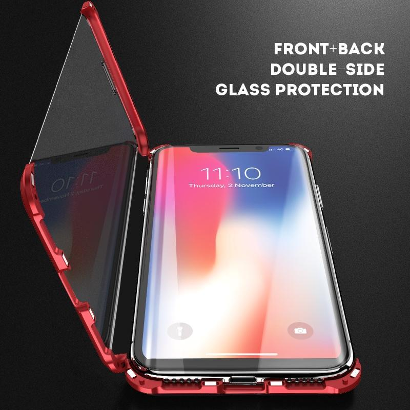Apple Series Borderless Magnetic King Double Sided Glass Case for Apple 7/8 / 7Plus / 8Plus / X / XS / XR / XSMAX Metal Side Magnetic Case
