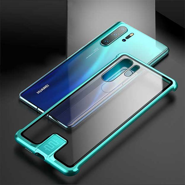 Luxury Metal Push-Pull Back Tempered Glass Clear Case Cover For Huawei P30 Mate20 Pro