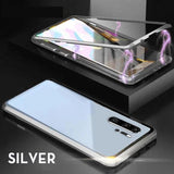Two side Glass Magnetic Adsorption Folding Case Luxury Metal Tempered Cover Case for Huawei
