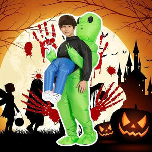 (Global free shipping)Green Alien Carrying Human Costume