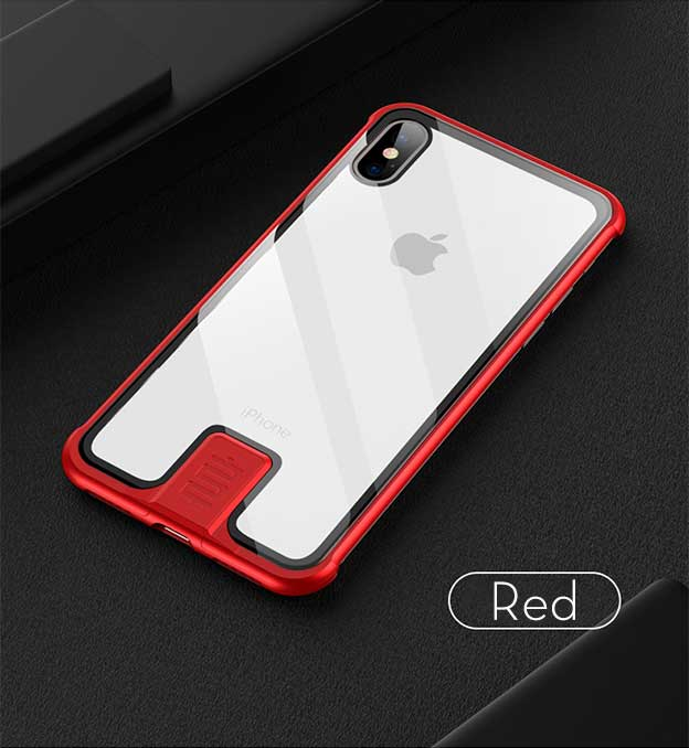 Luxury Metal Push-Pull Back Tempered Glass Clear Case Cover For iPhone 7/8 Plus XS Max XR