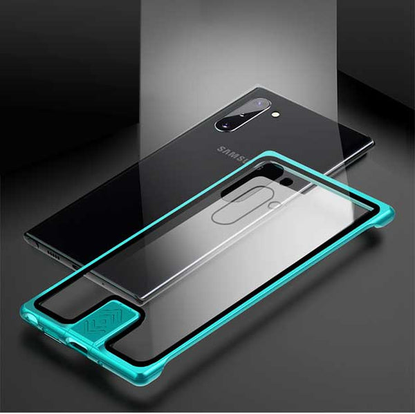 Luxury Metal Push-Pull Back Tempered Glass Clear Case Cover For Samsung S10/S10+/Note10/Note10+