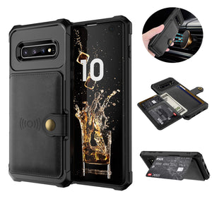 Wallet Case with Card Holder for Samsung Galaxy Note10 Pro S10 Plus Premium PU Leather Kickstand Card Slots Case