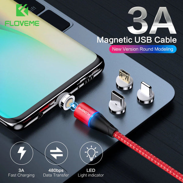 FLOVEME Magnetic Charger Micro Usb Cable For iphone Usb Type C Fast Charging Adapter Magnet Charger Wire For Samsung Huawei Cord