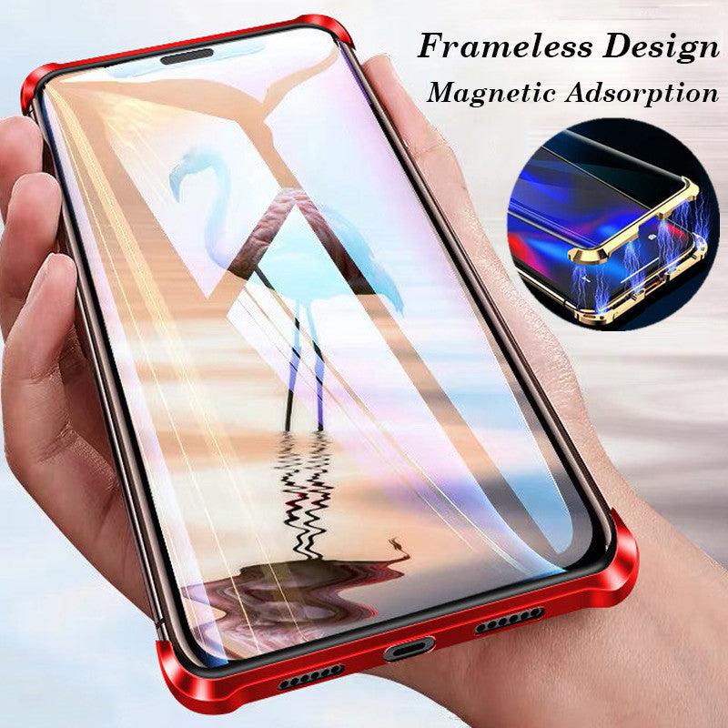 Frameless magnetic phone case for Samsung S8/S8+/S9/S9+/S10/S10+/S10E/Note8/Note9 luxury metal tempered glass case
