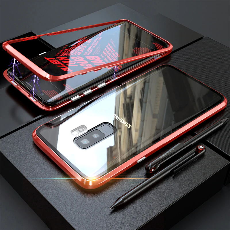 Two side Glass Magnetic Adsorption Folding Case Luxury Metal Tempered Cover Case for Samsung