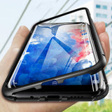 360° Full Protection Ultra Slim Magnetic Double-Sided Clear Tempered Glass Hard Back Cover  Case for Samsung