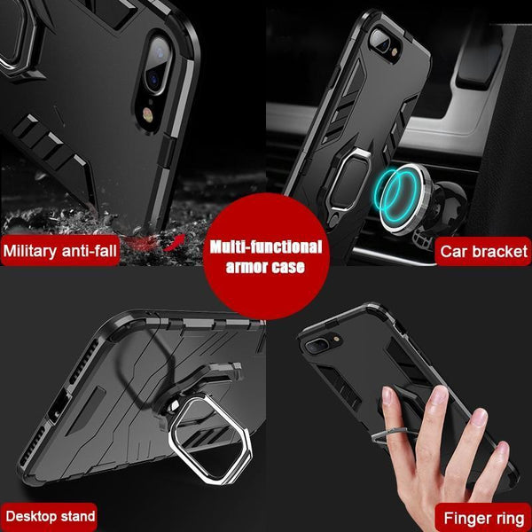 For Huawei P30 lite Case Armor PC Cover Metal Finger Ring Holder Shockproof Bumper