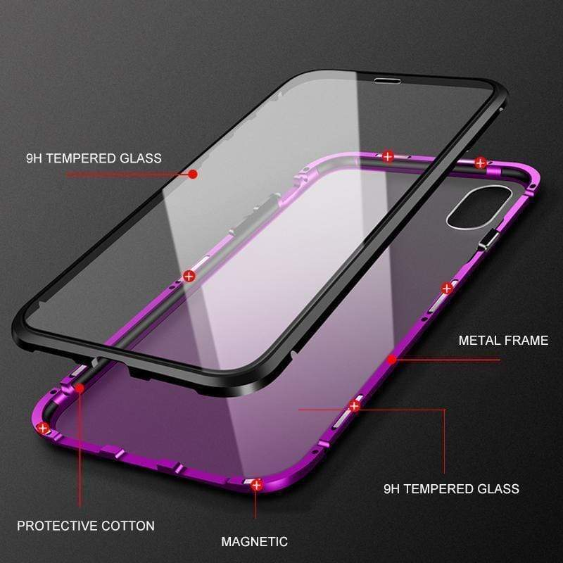 Magnetic Adsorption Case For iPhone X XS Max 8 7 Luxury Metal Tempered Glass Cover Case For iPhone 10 8 7 Plus Flip Phone Cases