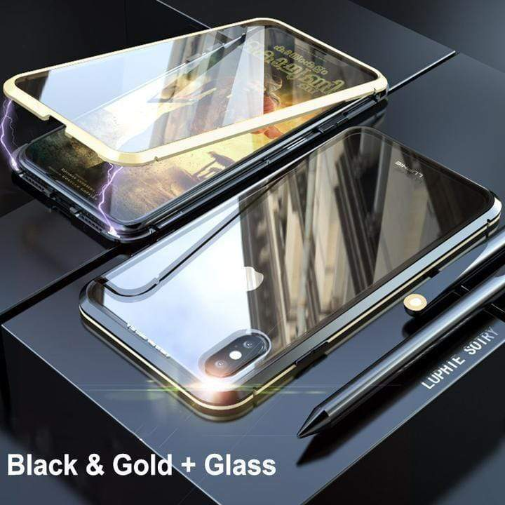 Two sides glass case of magnetize transparent for iPhone