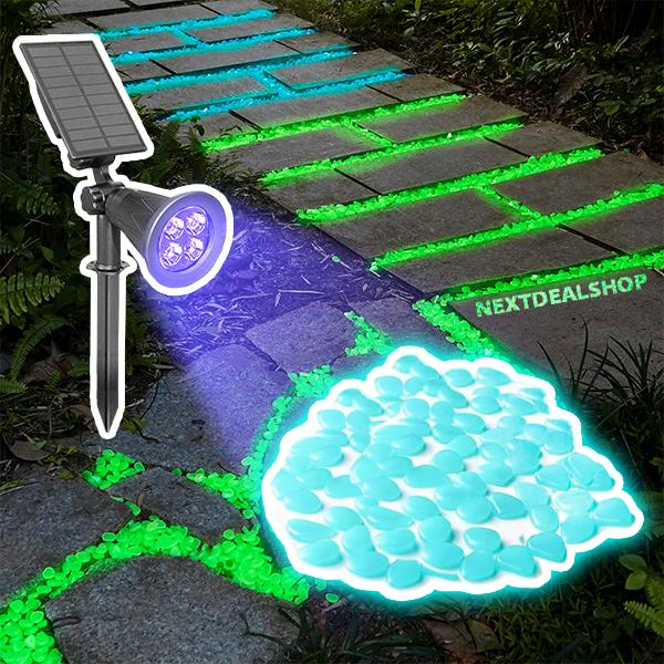 Glow-in-the-Dark Pebbles + Solar Powered LED Blacklight Combo Set