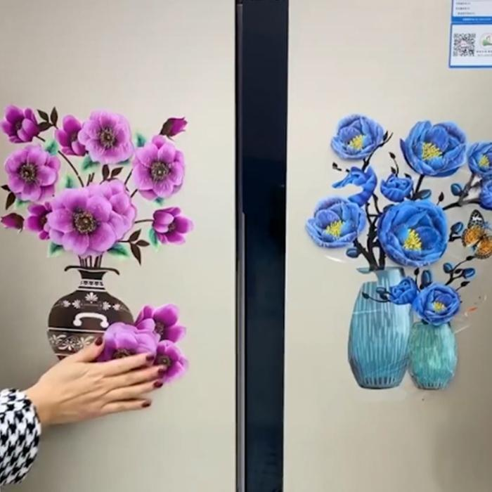 【2020 New Year Decor】Removable 3D Simulated Flower Fridge Wall Sticker