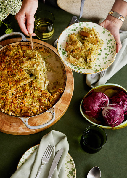 Sian Redgrave's Baked Rigatoni With Broccoli and Zucchini Pesto and Pangrattato