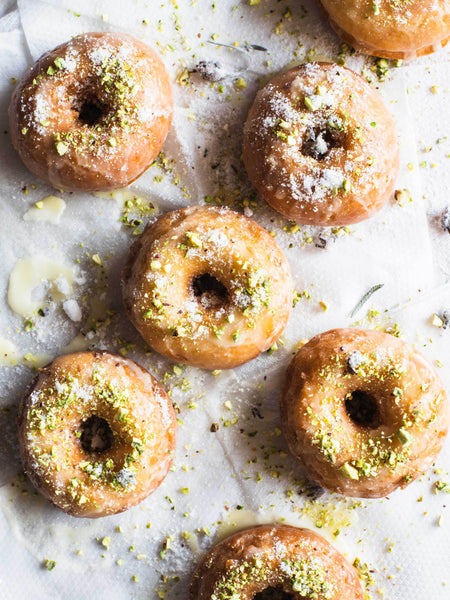 Comfort Food: Glazed Potato Doughnuts with Pistachios and Lavender Sugar