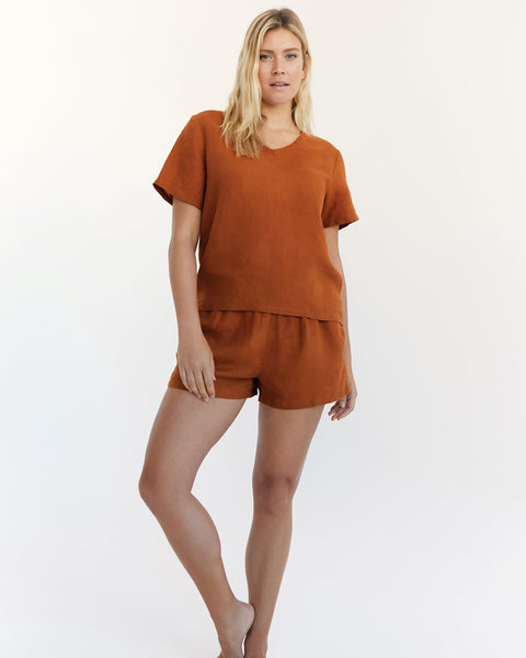 100% French Flax Linen T-Shirt in Rust - Large - Linen Sleepwear - Bed Threads