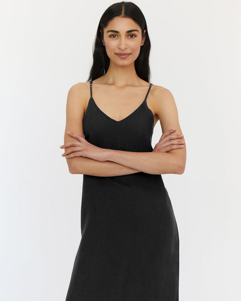 100% French Flax Linen Midi Dress in Charcoal - Small - Linen Sleepwear - Bed Threads