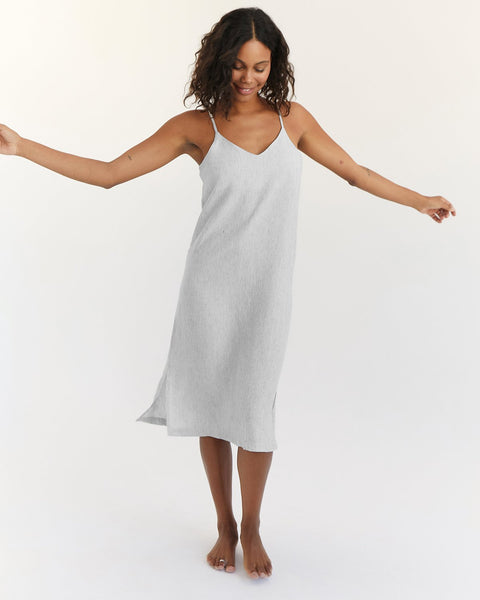 100% French Flax Linen Midi Dress in Pinstripe - Extra Large - Linen Sleepwear - Bed Threads