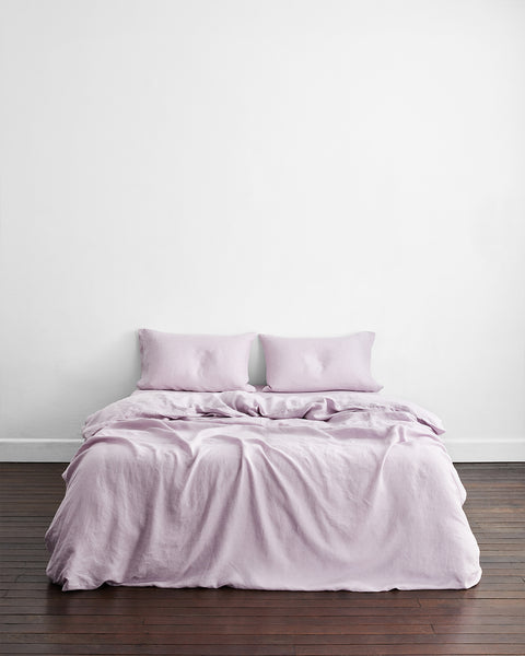 Lilac 100% Flax Linen Bedding Set - King - Bed Threads