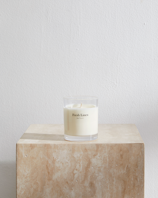 Fresh Linen Candle by Bed Threads