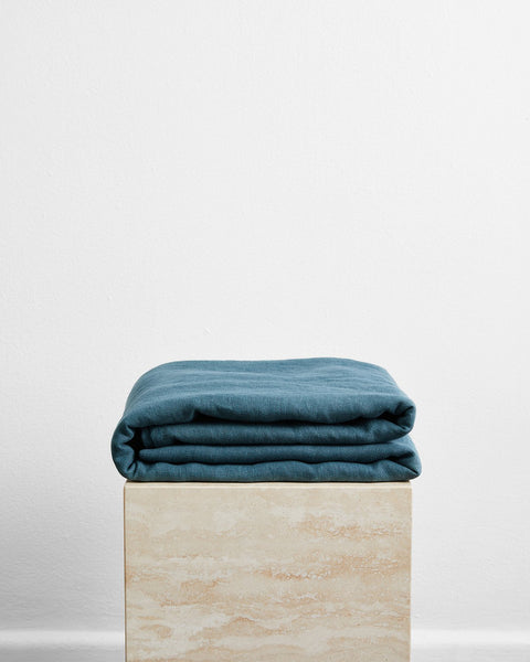Petrol 100% French Flax Linen Throw - Queen - Bed Threads