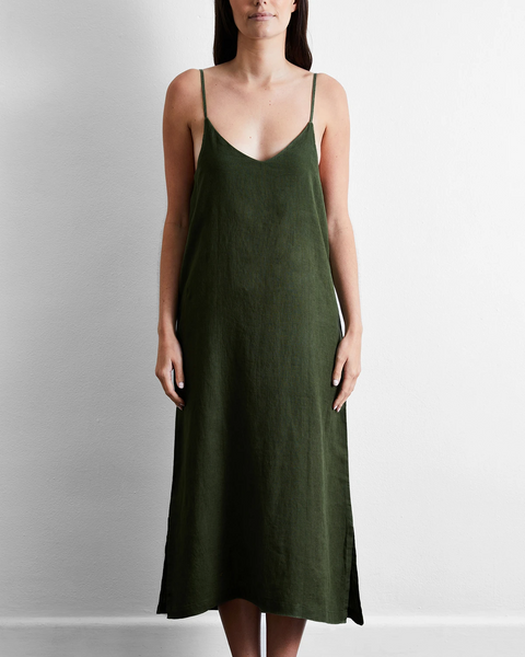 100% French Flax Linen Midi Dress in Olive - Extra Large - Linen Sleepwear - Bed Threads
