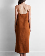 Load image into Gallery viewer, 100% French Flax Linen Midi Dress in Rust