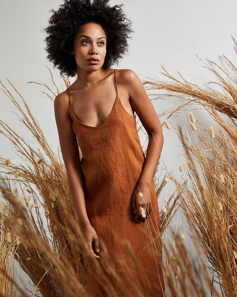 100% French Flax Linen Midi Dress in Rust - Double Extra Large - Bed Threads