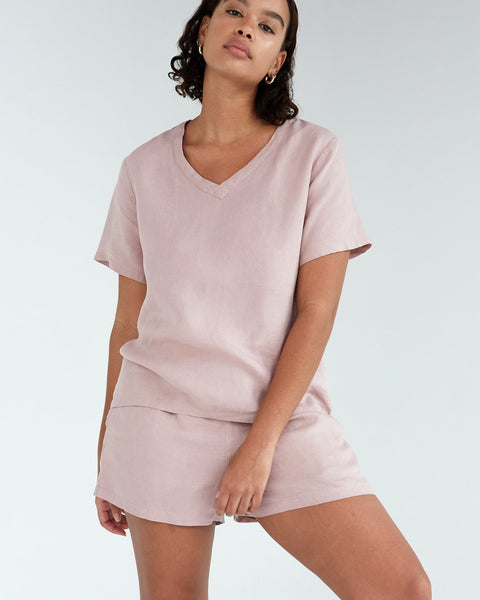 100% French Flax Linen T-Shirt in Lavender - Large - Linen Sleepwear - Bed Threads