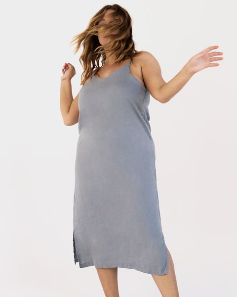 100% French Flax Linen Midi Dress in Mineral - Extra Large - Linen Sleepwear - Bed Threads