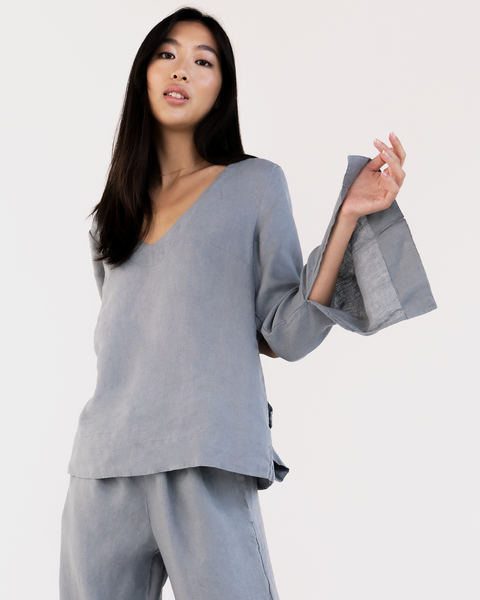 100% French Flax Linen Top in Mineral - Double Extra Large - Linen Sleepwear - Bed Threads