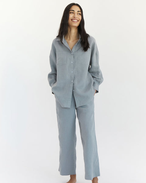 100% French Flax Linen Pants in Mineral - Small - Linen Sleepwear - Bed Threads