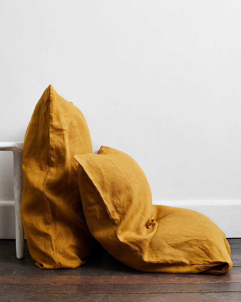 Turmeric 100% Flax Linen Pillowcases (Set of Two)