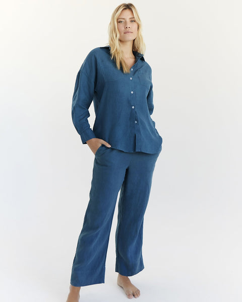100% French Flax Linen Pants in Petrol - Double Extra Large - Linen Sleepwear - Bed Threads