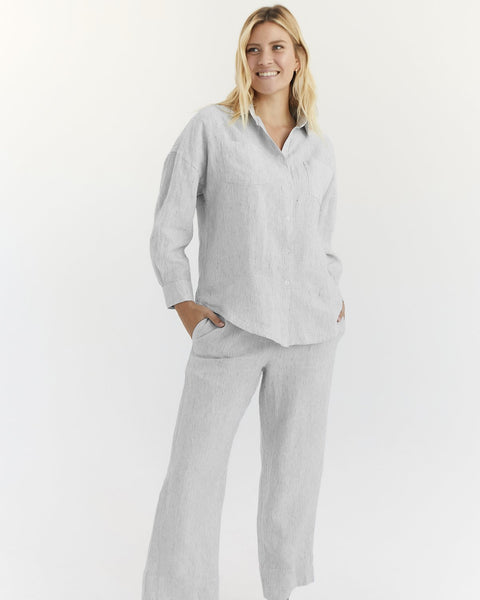 100% French Flax Linen Pants in Pinstripe - Triple Extra Large - Linen Sleepwear - Bed Threads