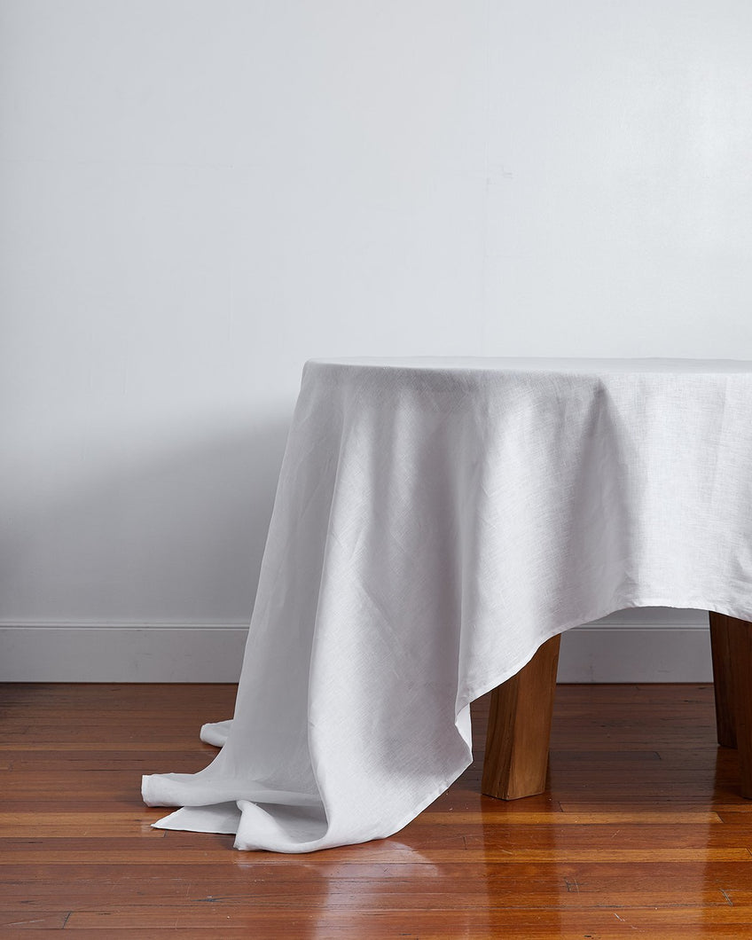 100% Linen Tablecloth in White