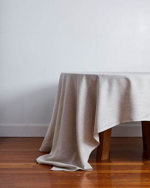 100% Linen Tablecloth in Oatmeal - Medium - Linen Tableware - Bed Threads