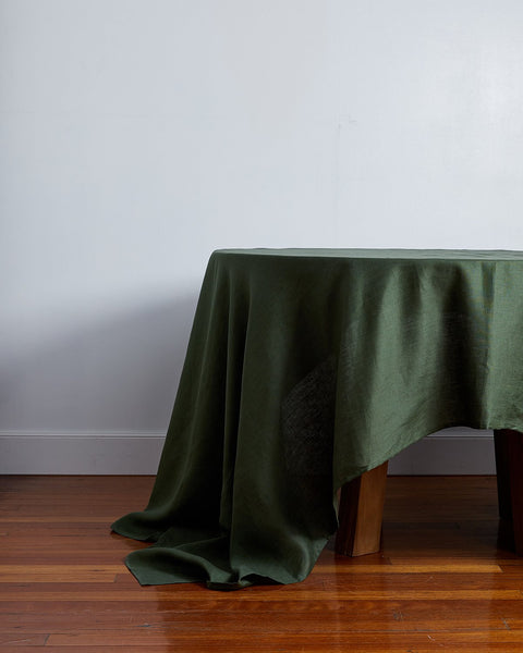 100% Linen Tablecloth in Olive - Medium - Linen Tableware - Bed Threads