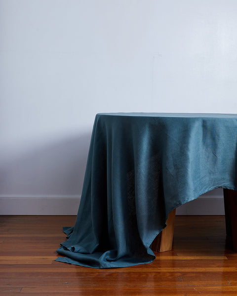 100% Linen Tablecloth in Petrol - Small - Linen Tableware - Bed Threads