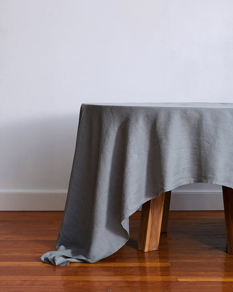 100% Linen Tablecloth in Mineral - Small - Linen Tableware - Bed Threads