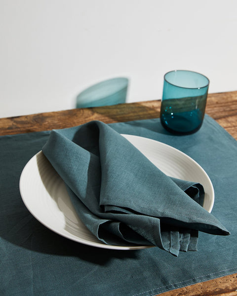 100% Linen Napkins in Petrol (Set of Four) - Bed Threads