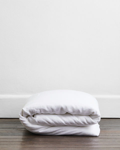 White 100% Flax Linen Duvet Cover - Twin/Twin XL - Bed Threads