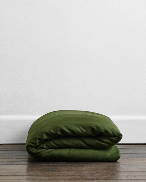 Olive 100% Flax Linen Duvet Cover - Twin/Twin XL - Bed Threads