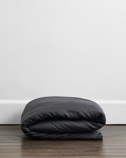 Charcoal 100% Flax Linen Duvet Cover - Twin/Twin XL - Bed Threads