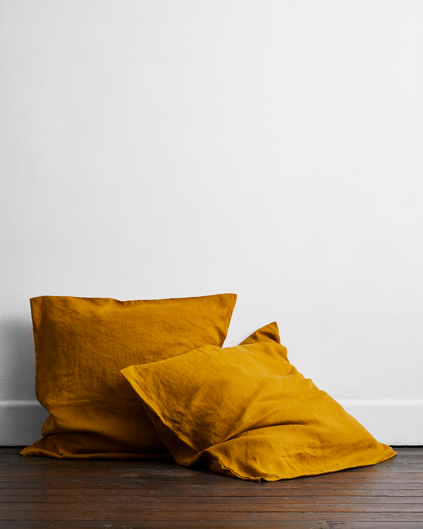Turmeric 100% Flax Linen European Pillowcases (Set of Two)
