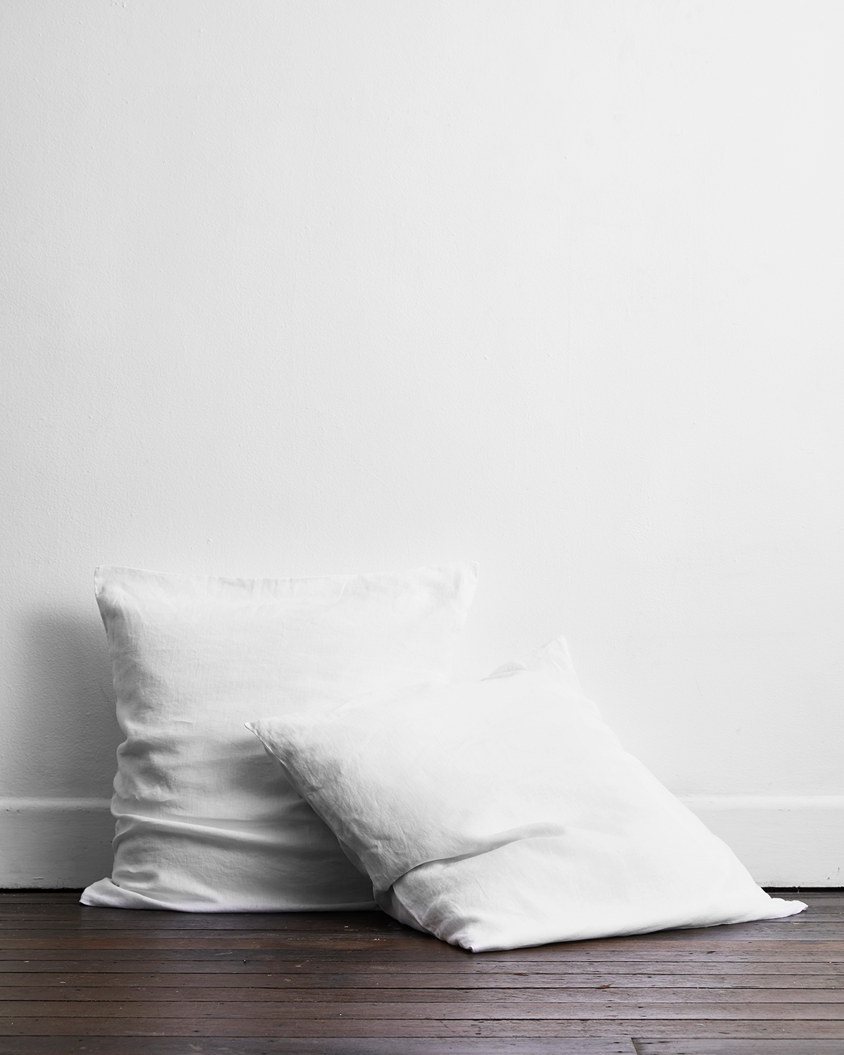 White 100% Flax Linen European Pillowcases (Set of Two)